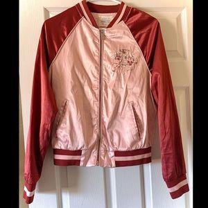 Ashely Embroidered Pink Bomber Jacket